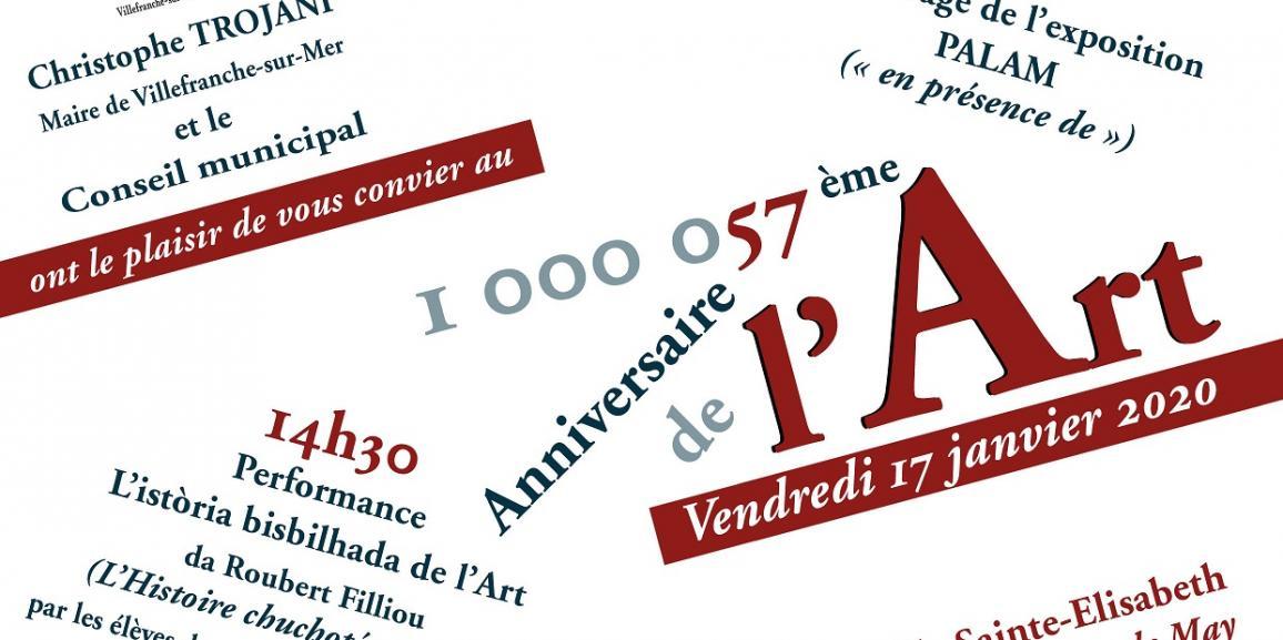 Le 1.000.057 ème ANNIVERSAIRE DE L'ART